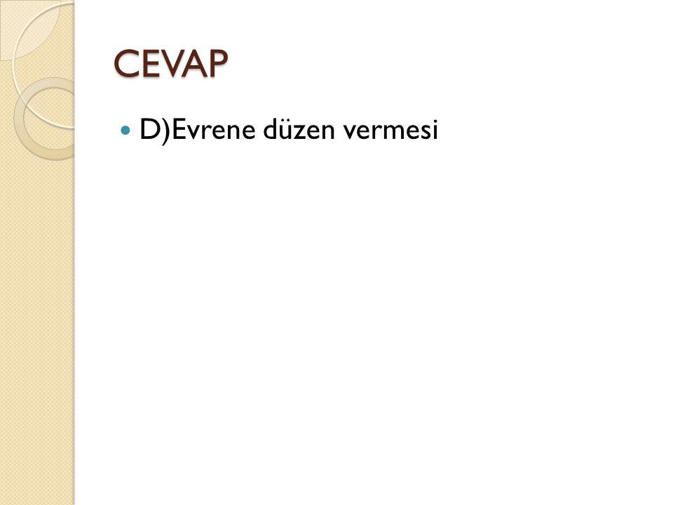 CEVAP D)Evrene düzen vermesi