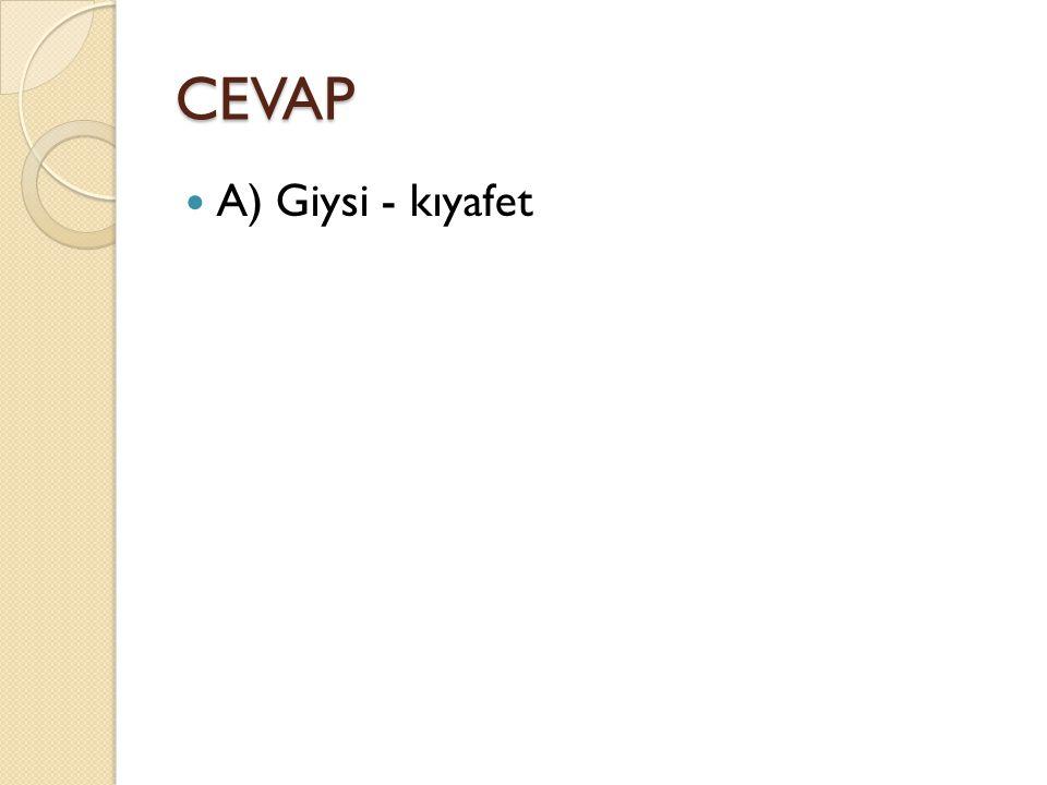 CEVAP A) Giysi - kıyafet