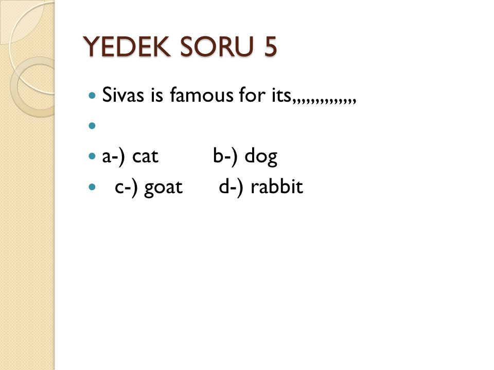 YEDEK SORU 5 Sivas is famous for its,,,,,,,,,,,,,, a-) cat b-) dog