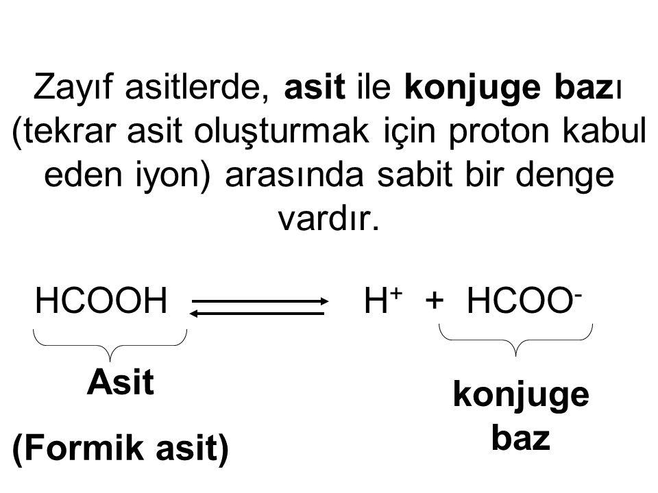 Zayıf asitlerde, asit ile konjuge bazı (tekrar asit oluşturmak için proton kabul eden iyon) arasında sabit bir denge vardır.