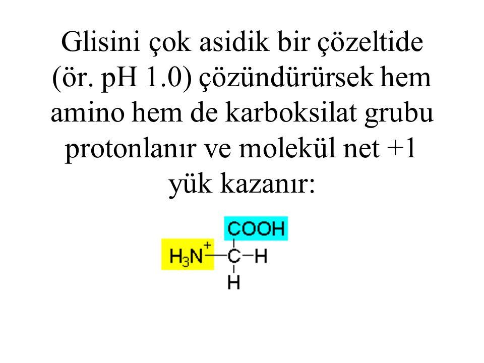 Glisini çok asidik bir çözeltide (ör. pH 1