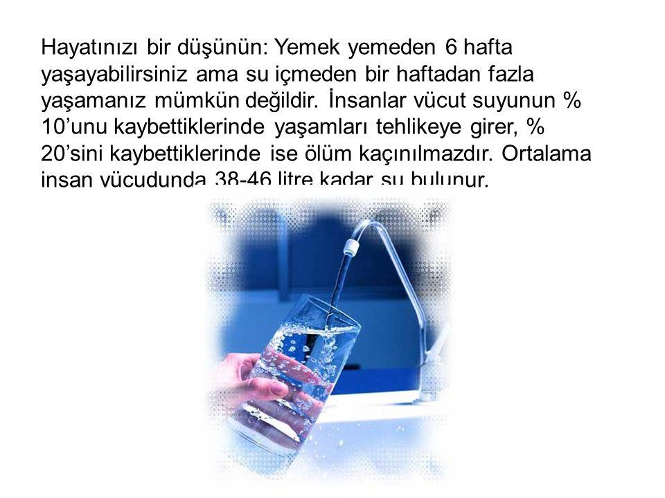 Hayatınızı bir düşünün: Yemek yemeden 6 hafta yaşayabilirsiniz ama su içmeden bir haftadan fazla yaşamanız mümkün değildir.