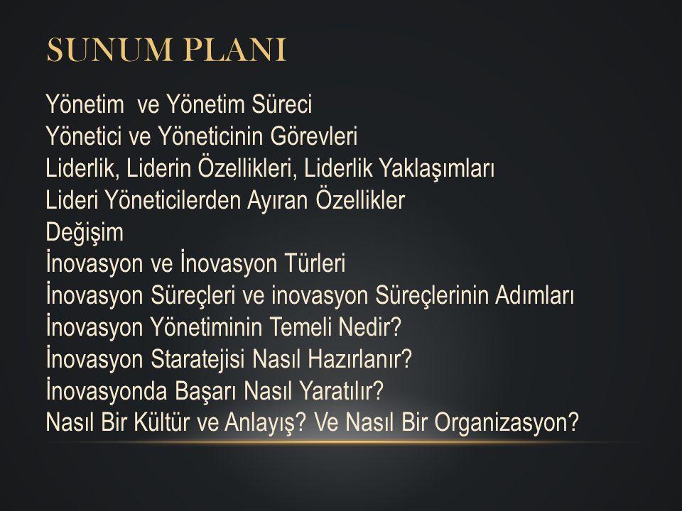 Sunum PlanI Yönetim ve Yönetim Süreci