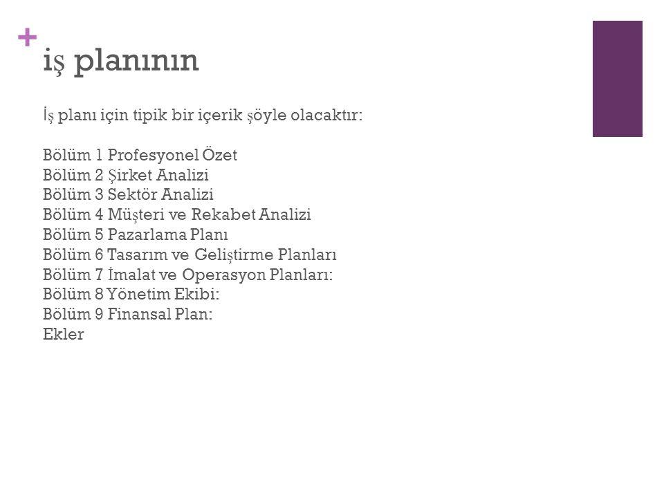 iş planının İş planı için tipik bir içerik şöyle olacaktır: