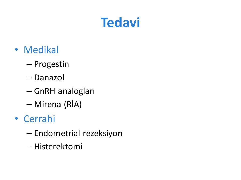 Tedavi Medikal Cerrahi Progestin Danazol GnRH analogları Mirena (RİA)