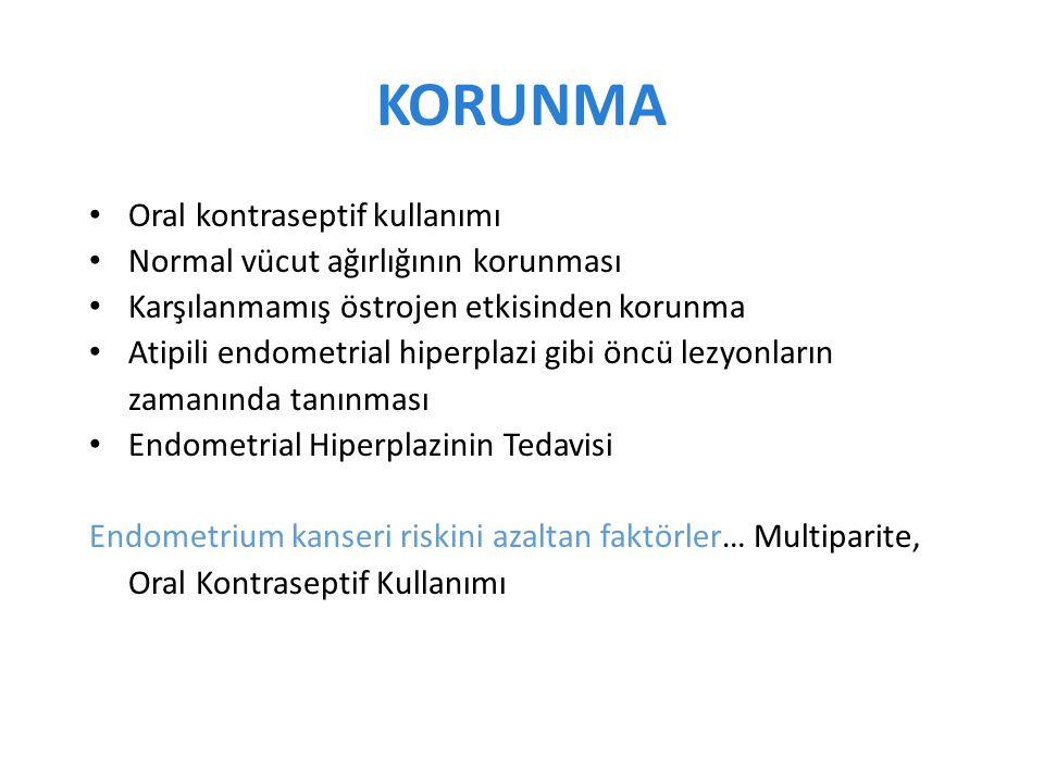 KORUNMA Oral kontraseptif kullanımı Normal vücut ağırlığının korunması