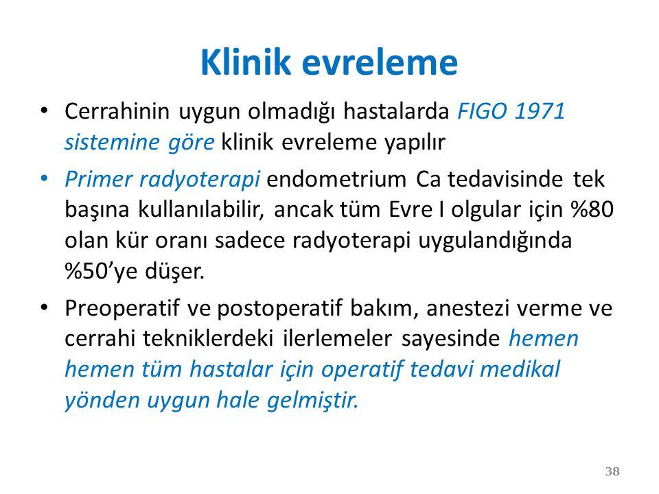 Klinik evreleme Cerrahinin uygun olmadığı hastalarda FIGO 1971 sistemine göre klinik evreleme yapılır.