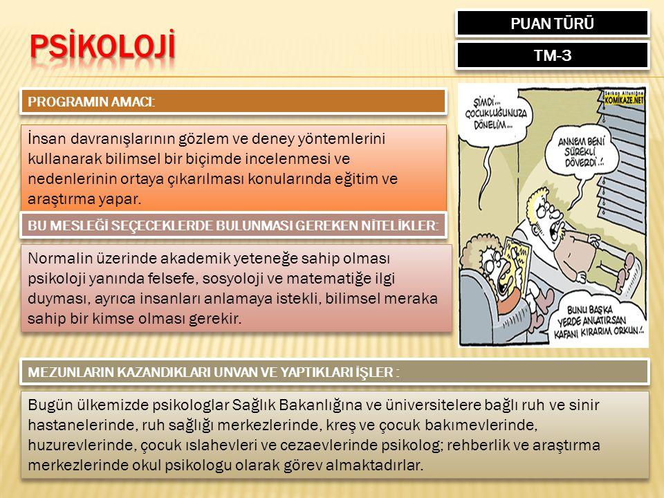 PSİKOLOJİ PUAN TÜRÜ TM-3
