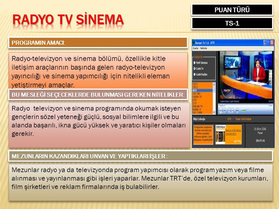 PUAN TÜRÜ RADYO TV SİNEMA. TS-1. PROGRAMIN AMACI:
