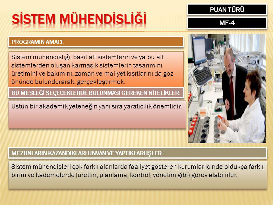 SİSTEM MÜHENDİSLİĞİ PUAN TÜRÜ MF-4