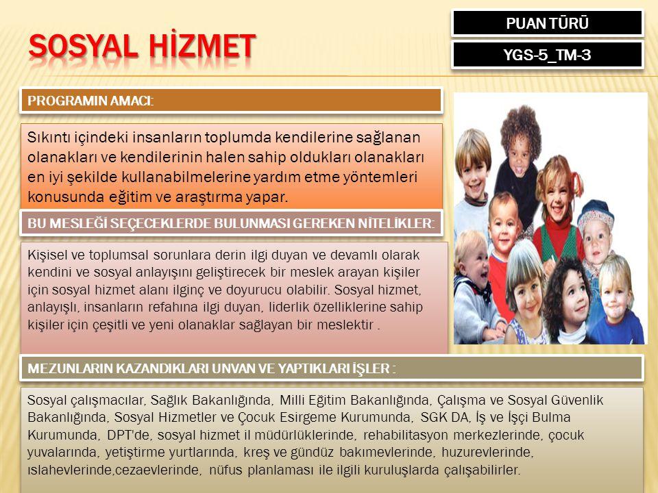 SOSYAL HİZMET PUAN TÜRÜ YGS-5_TM-3