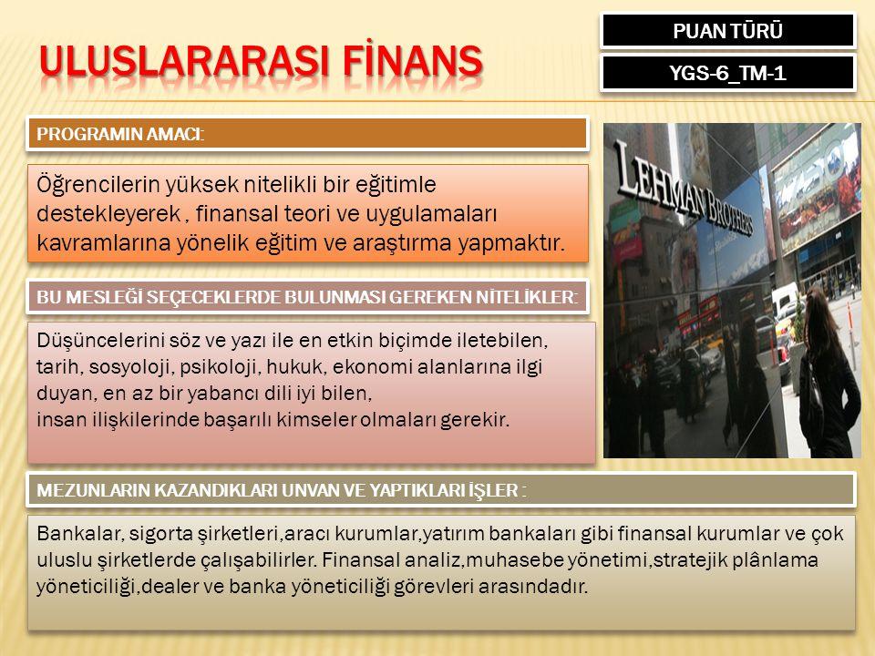 PUAN TÜRÜ ULUSLARARASI FİNANS. YGS-6_TM-1. PROGRAMIN AMACI: