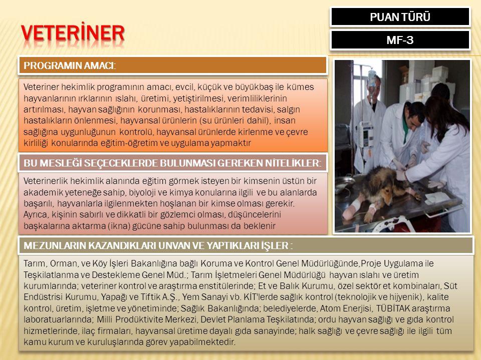 VETERİNER PUAN TÜRÜ MF-3 PROGRAMIN AMACI: