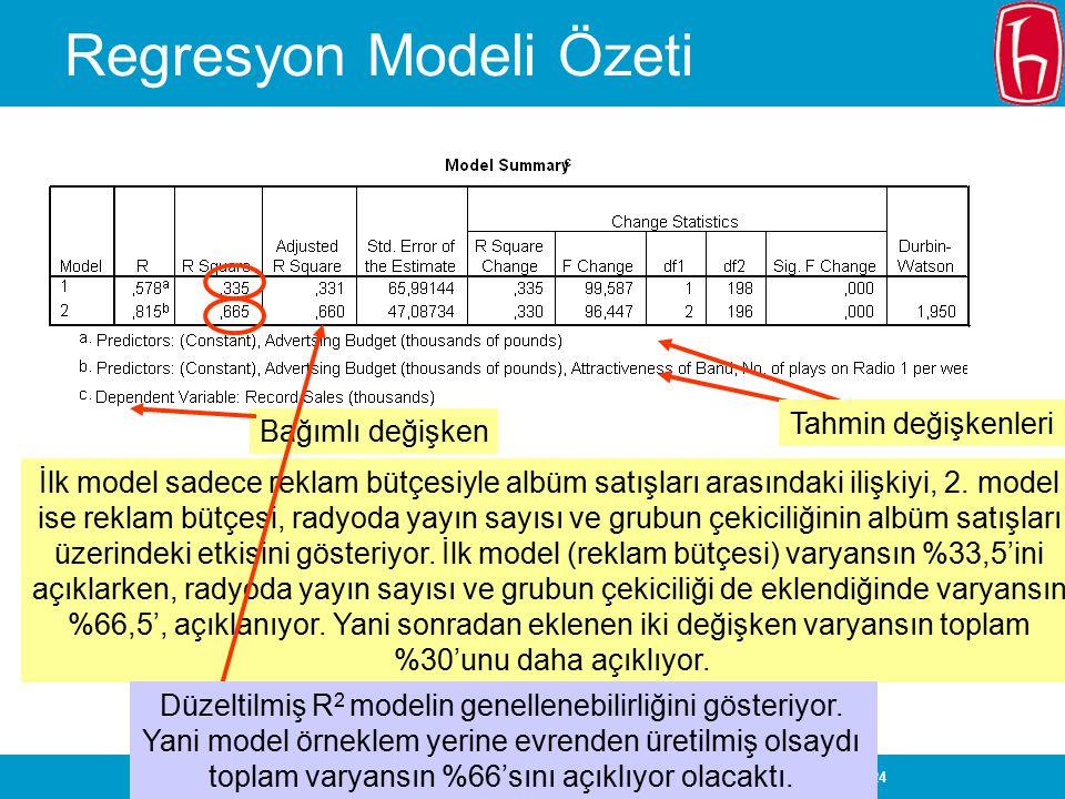 Regresyon Modeli Özeti
