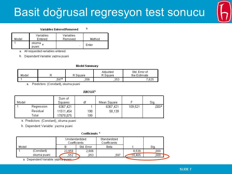 Basit doğrusal regresyon test sonucu