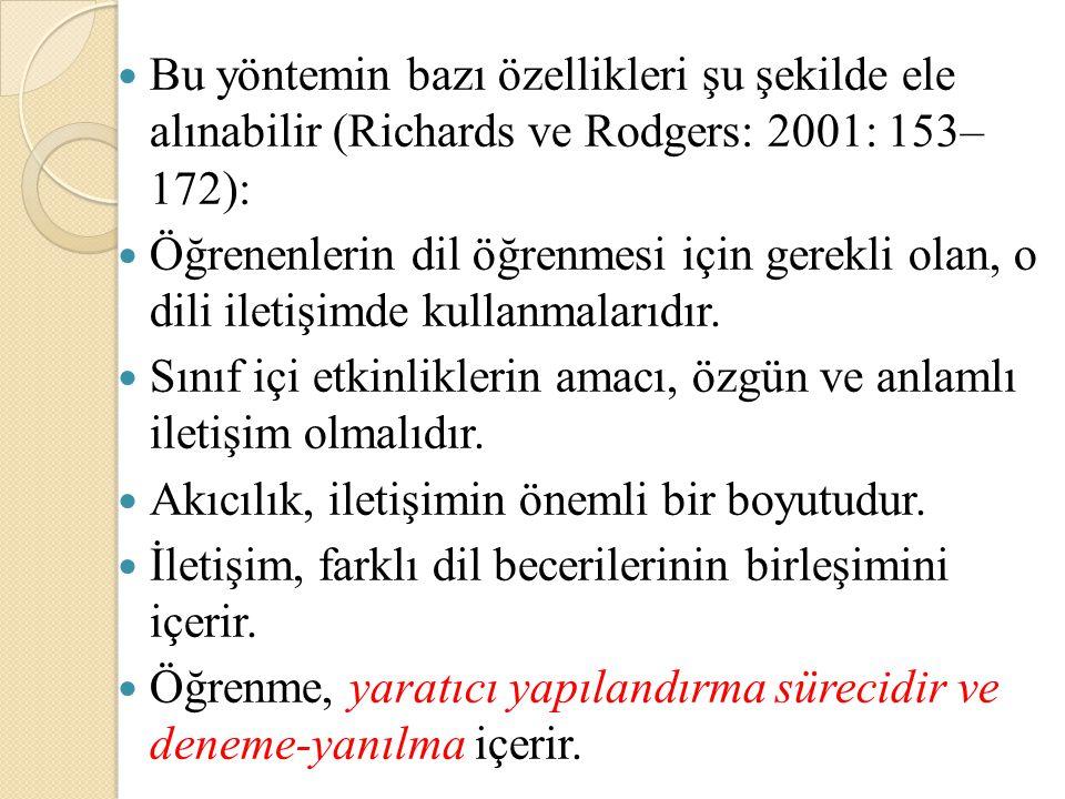 Bu yöntemin bazı özellikleri şu şekilde ele alınabilir (Richards ve Rodgers: 2001: 153– 172):