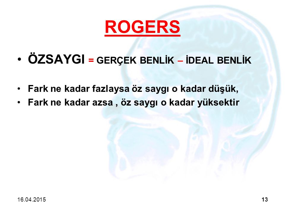 ROGERS ÖZSAYGI = GERÇEK BENLİK – İDEAL BENLİK