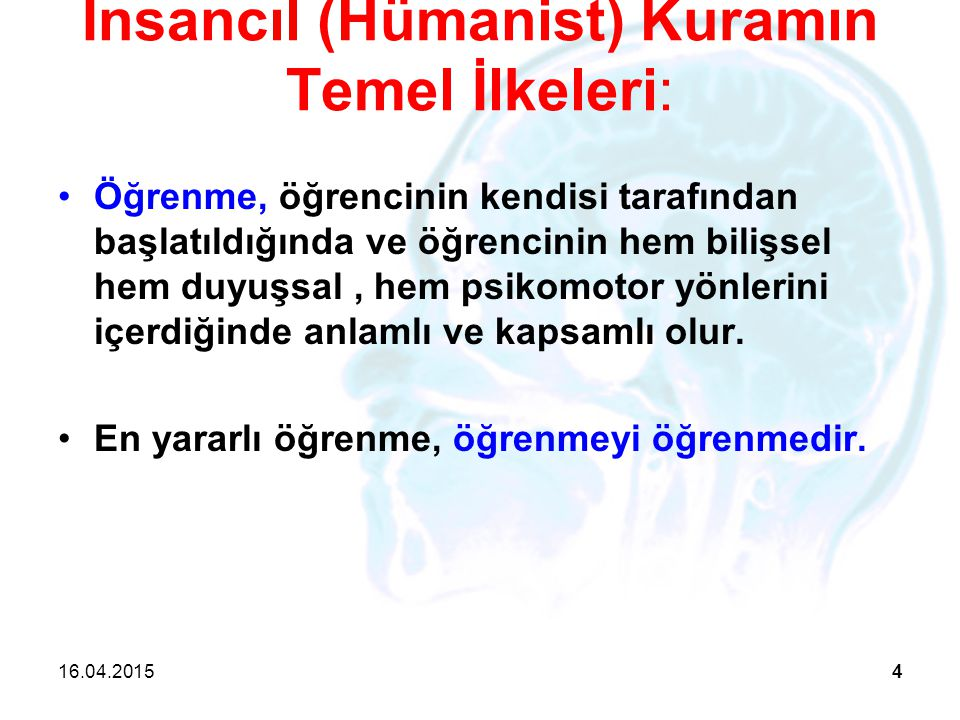 İnsancıl (Hümanist) Kuramın Temel İlkeleri: