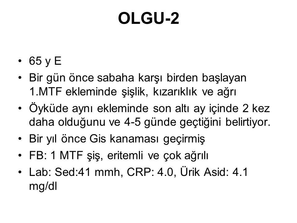 OLGU-2 65 y E. Bir gün önce sabaha karşı birden başlayan 1.MTF ekleminde şişlik, kızarıklık ve ağrı.