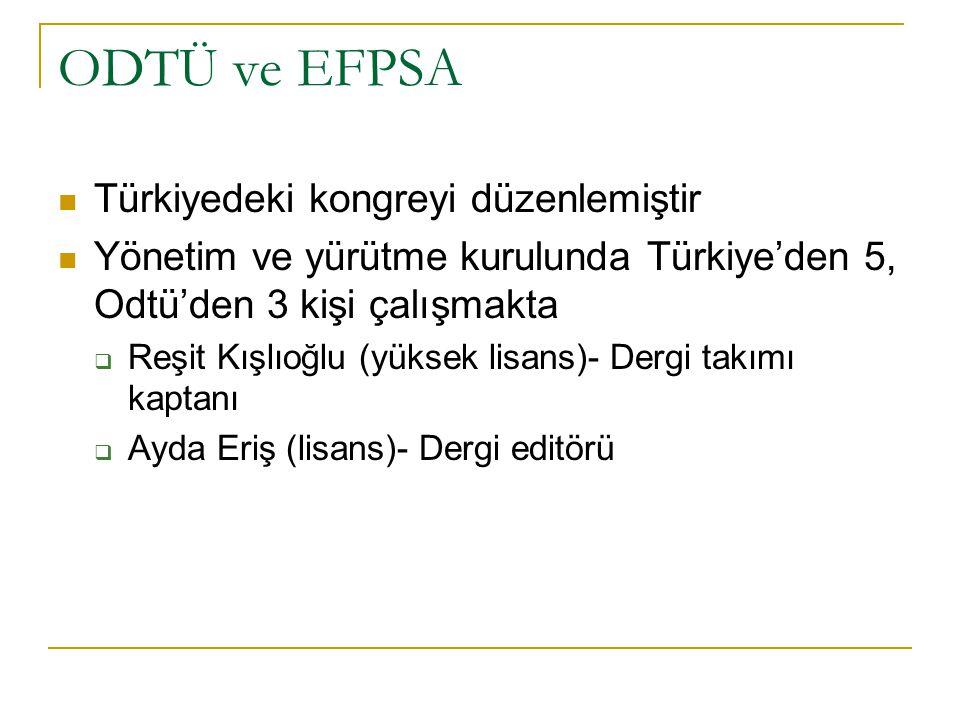 ODTÜ ve EFPSA Türkiyedeki kongreyi düzenlemiştir