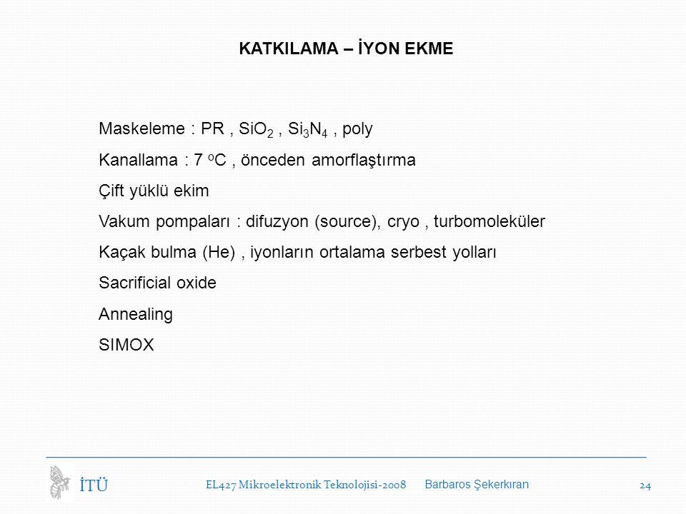 Maskeleme : PR , SiO2 , Si3N4 , poly