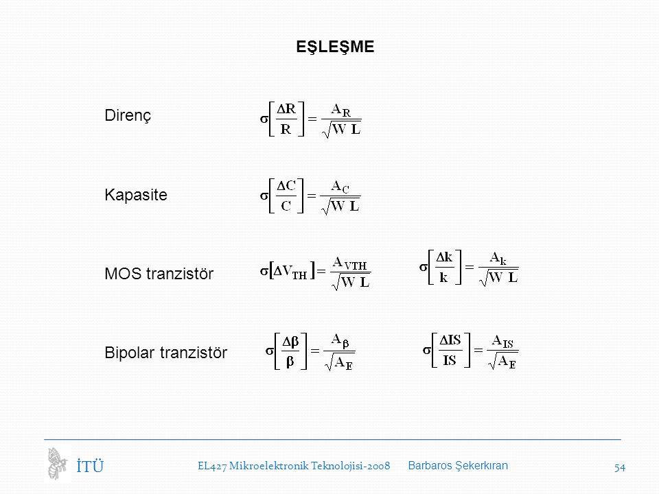 EŞLEŞME Direnç Kapasite MOS tranzistör Bipolar tranzistör İTÜ