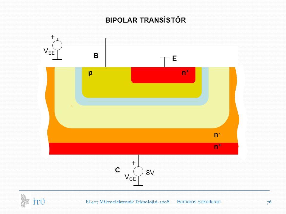 BIPOLAR TRANSİSTÖR + VBE B E p n+ n- n+ + C 8V VCE İTÜ