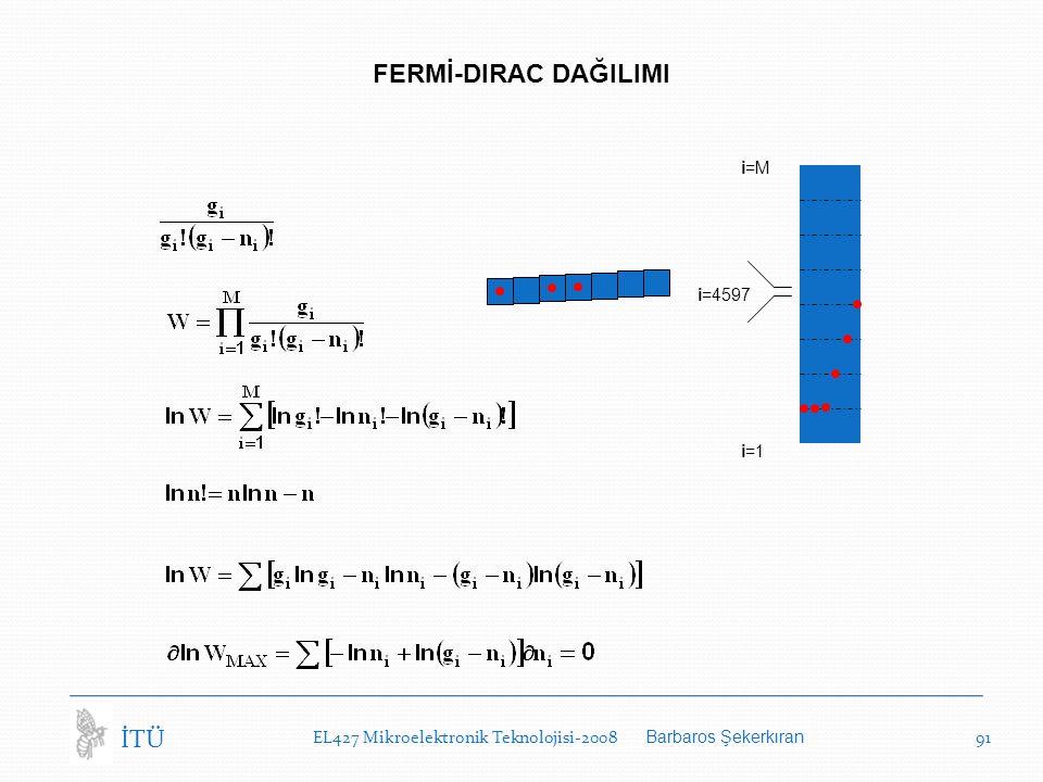 FERMİ-DIRAC DAĞILIMI İTÜ i=M i=4597 i=1