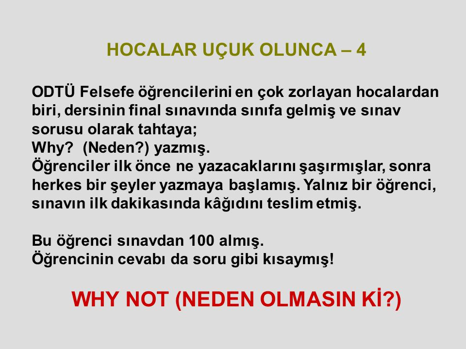 WHY NOT (NEDEN OLMASIN Kİ )