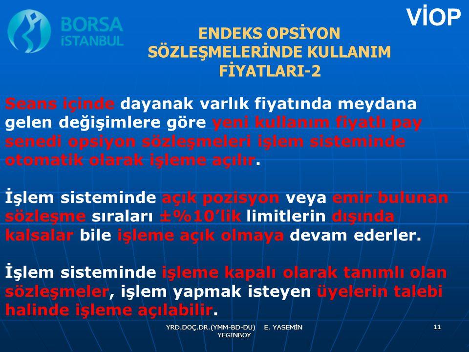ENDEKS OPSİYON SÖZLEŞMELERİNDE KULLANIM FİYATLARI-2