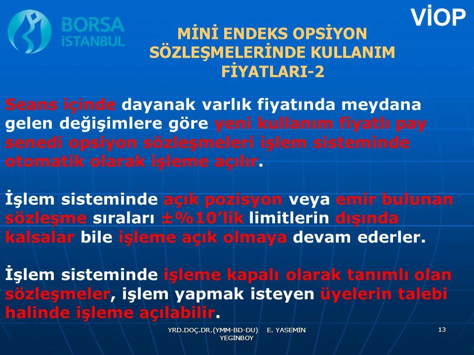 MİNİ ENDEKS OPSİYON SÖZLEŞMELERİNDE KULLANIM FİYATLARI-2