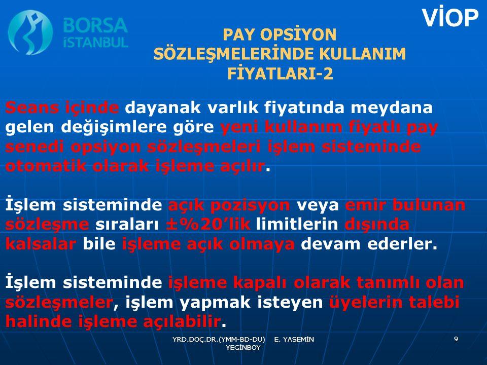 PAY OPSİYON SÖZLEŞMELERİNDE KULLANIM FİYATLARI-2