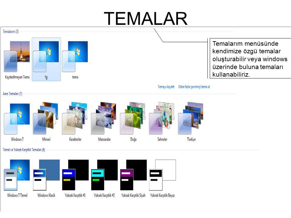 TEMALAR Temalarım menüsünde kendimize özgü temalar oluşturabilir veya windows üzerinde buluna temaları kullanabiliriz.