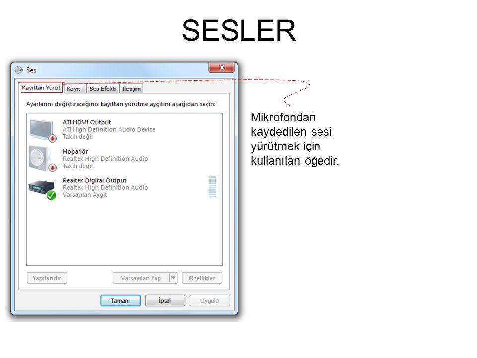 SESLER Mikrofondan kaydedilen sesi yürütmek için kullanılan öğedir.