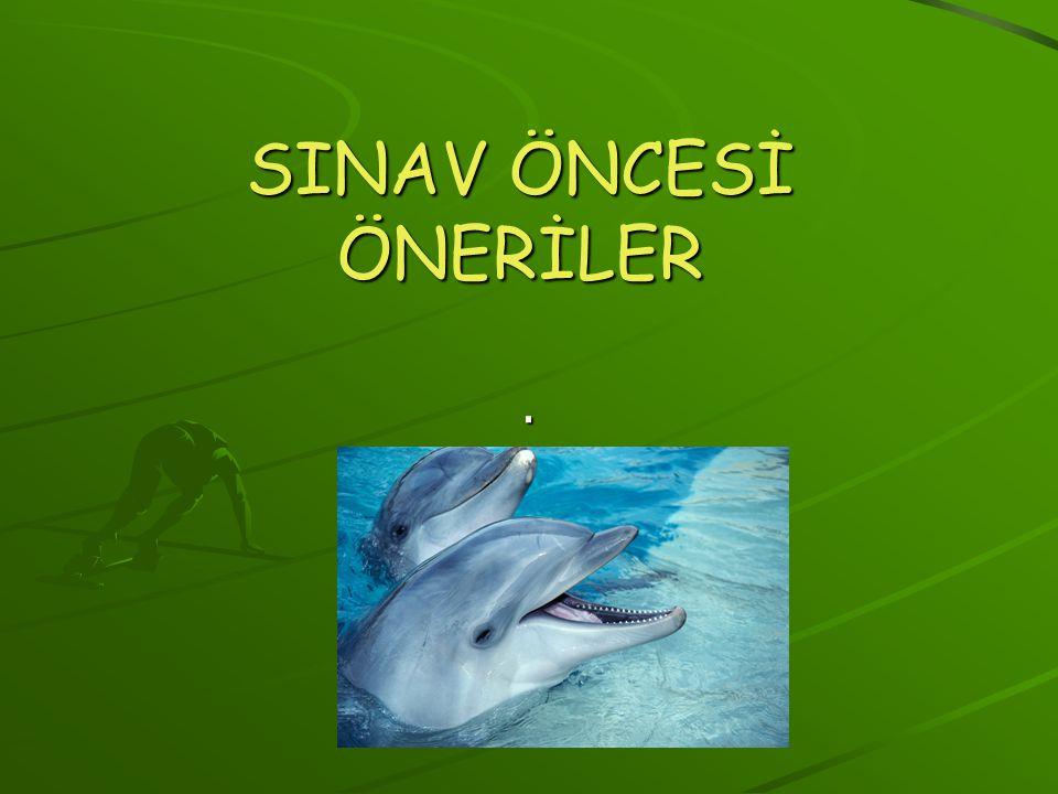 SINAV ÖNCESİ ÖNERİLER .