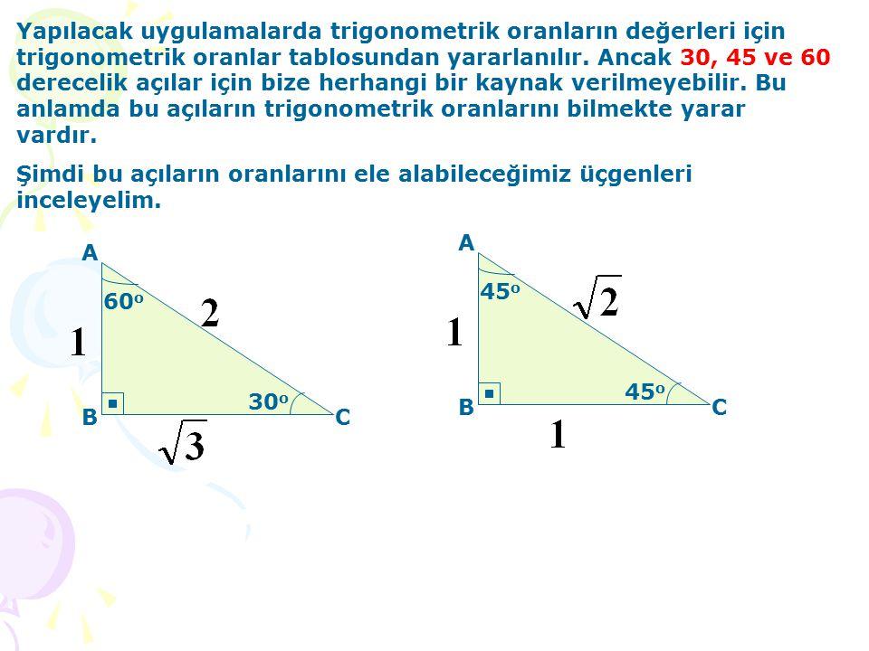 Yapılacak uygulamalarda trigonometrik oranların değerleri için trigonometrik oranlar tablosundan yararlanılır. Ancak 30, 45 ve 60 derecelik açılar için bize herhangi bir kaynak verilmeyebilir. Bu anlamda bu açıların trigonometrik oranlarını bilmekte yarar vardır.