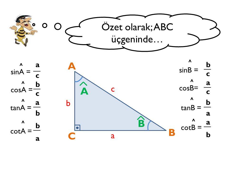 Özet olarak; ABC üçgeninde…