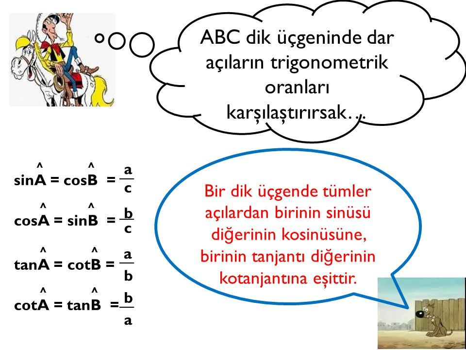 ABC dik üçgeninde dar açıların trigonometrik oranları karşılaştırırsak…