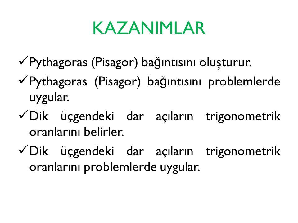KAZANIMLAR Pythagoras (Pisagor) bağıntısını oluşturur.