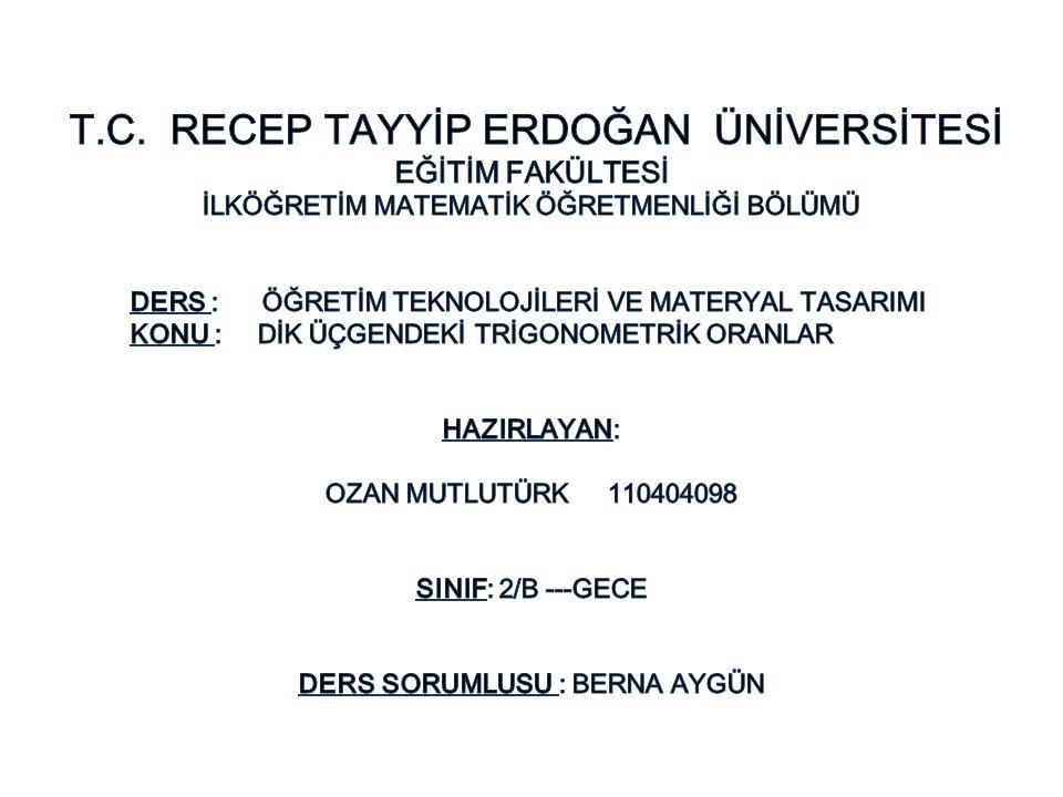 T.C. RECEP TAYYİP ERDOĞAN ÜNİVERSİTESİ
