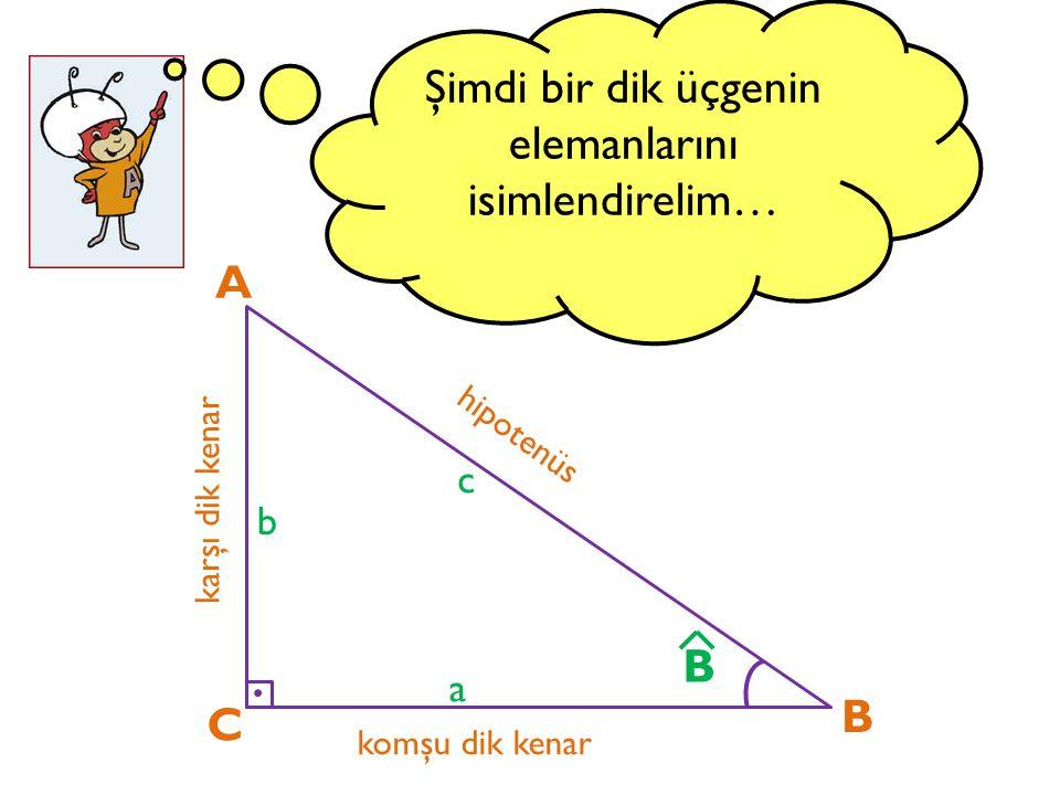 Şimdi bir dik üçgenin elemanlarını isimlendirelim…