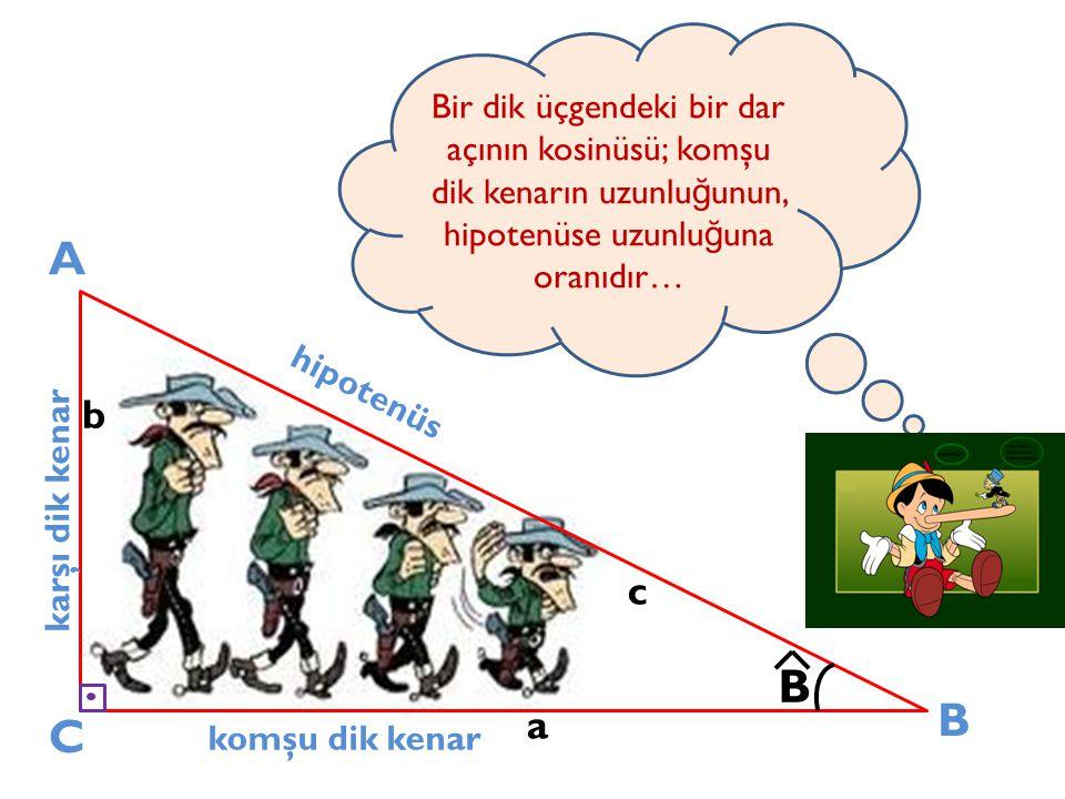 Bir dik üçgendeki bir dar açının kosinüsü; komşu dik kenarın uzunluğunun, hipotenüse uzunluğuna oranıdır…