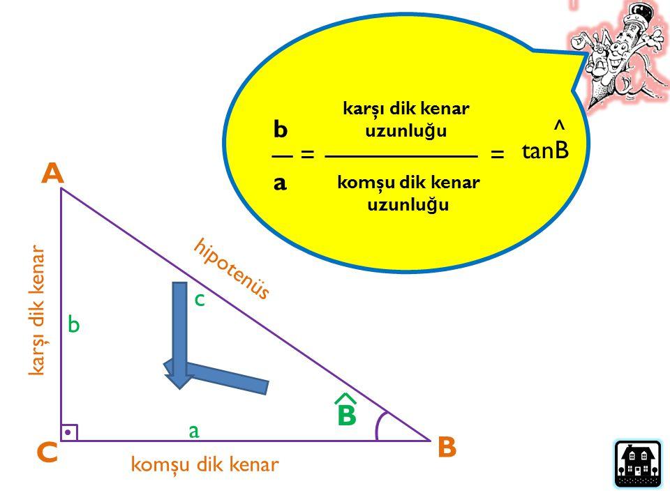 A B B C b ^ tanB = = a c b a hipotenüs karşı dik kenar komşu dik kenar