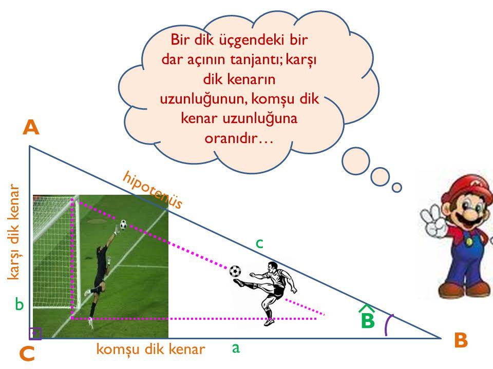 Bir dik üçgendeki bir dar açının tanjantı; karşı dik kenarın uzunluğunun, komşu dik kenar uzunluğuna oranıdır…
