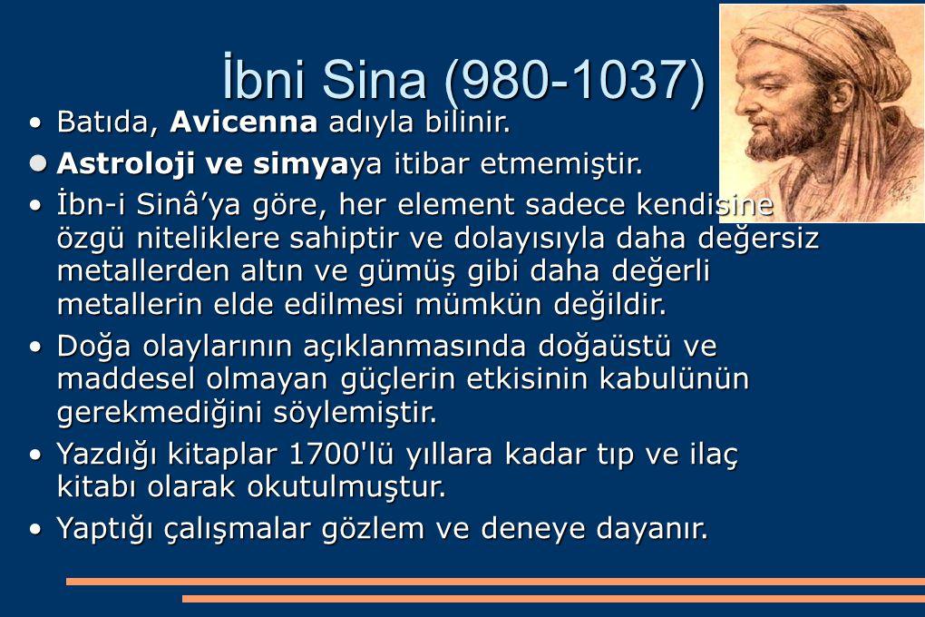 İbni Sina (980-1037) Batıda, Avicenna adıyla bilinir.