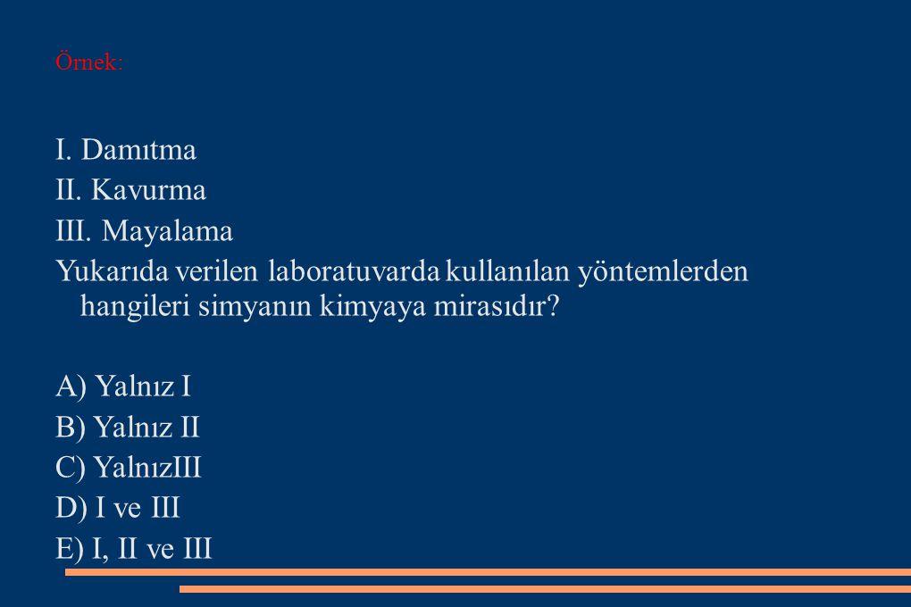I. Damıtma II. Kavurma III. Mayalama