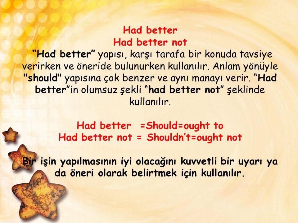Had better Had better not Had better yapısı, karşı tarafa bir konuda tavsiye verirken ve öneride bulunurken kullanılır.