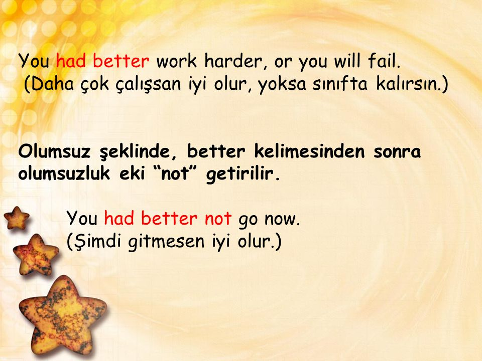 You had better work harder, or you will fail
