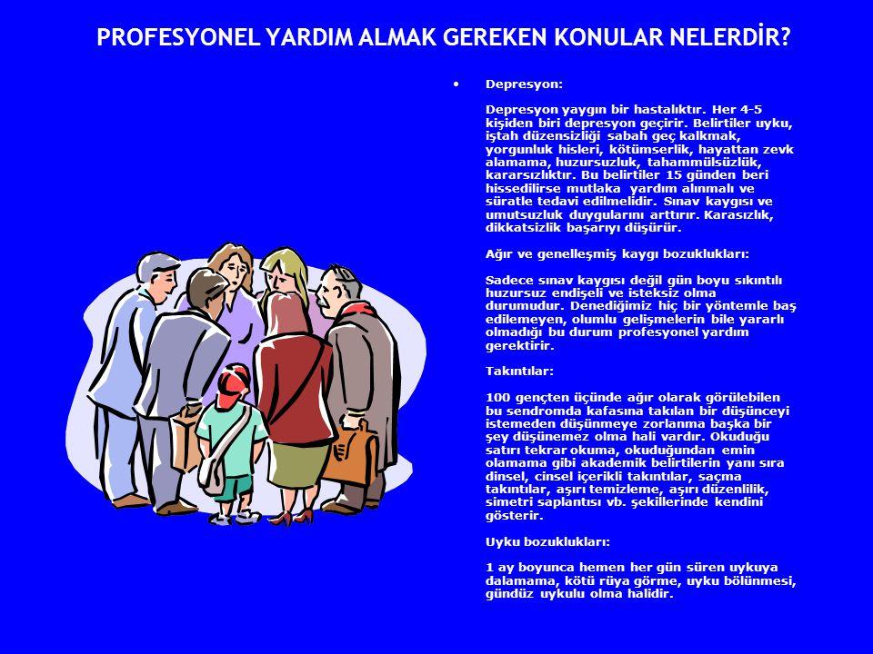 PROFESYONEL YARDIM ALMAK GEREKEN KONULAR NELERDİR