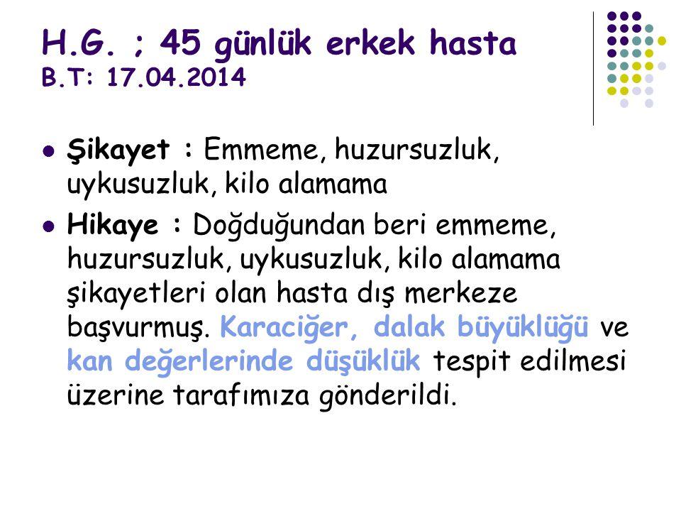 H.G. ; 45 günlük erkek hasta B.T: 17.04.2014